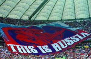 Russian fans unfurled this inflammatory banner at a Euro 2012 match against Poland in Warsaw. (yfrog.com)
