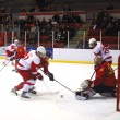 David Rose fights for the puck in front of the opposing net. (Jack Neal / McGill Tribune)