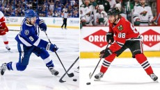 Two dimunitve forwards, Tyler Johnson and Patrick Kane, should play a big part in this series. (sportingnews.com)